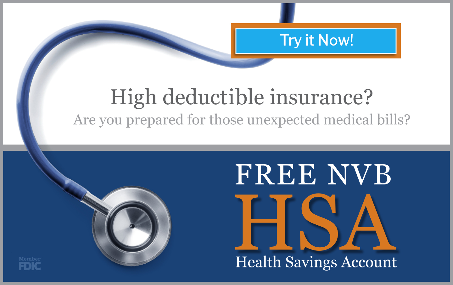 Image of stethoscope with text promoting HSA accounts!