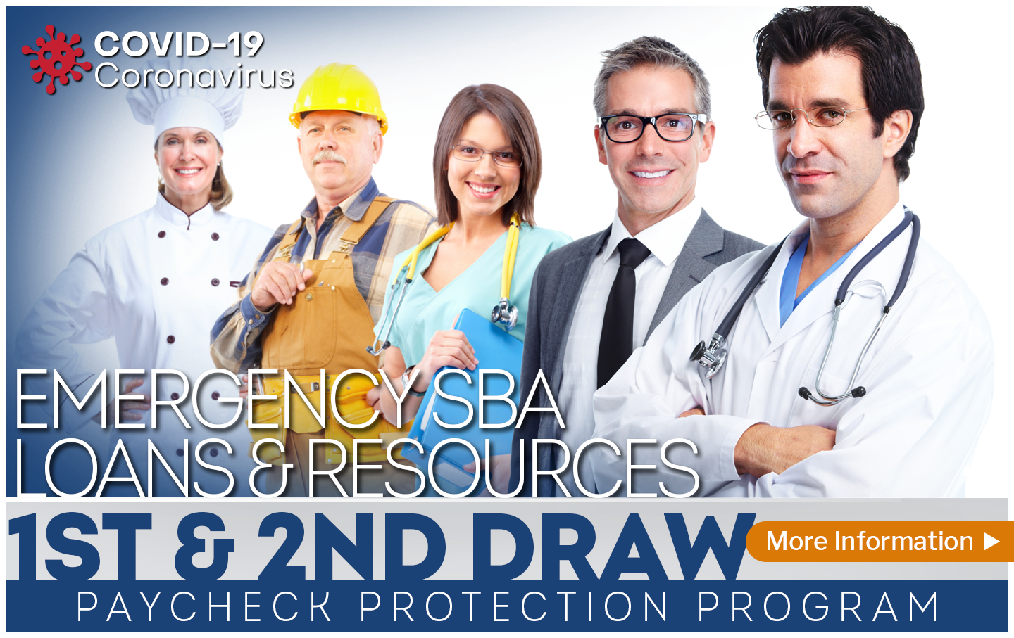 A doctor, business man, surgeon, construction worker and chef standing together in an ad promoting Second Draw Paycheck Protection Program